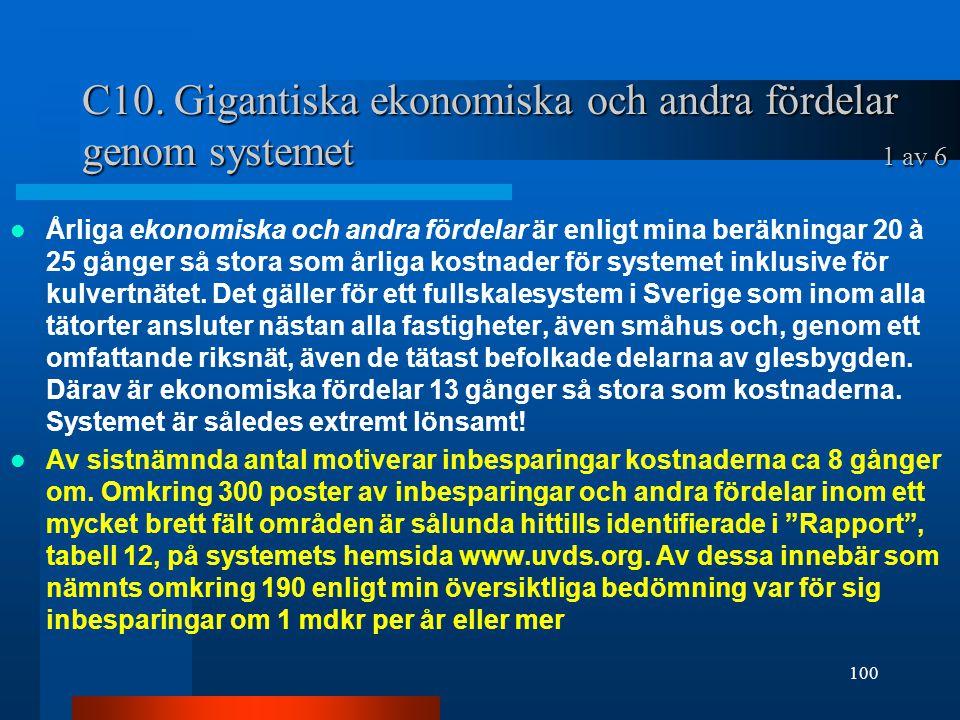 C10. Gigantiska ekonomiska och andra fördelar genom systemet 1 av 6 Årliga ekonomiska och andra fördelar är enligt mina beräkningar 20 à 25 gånger så