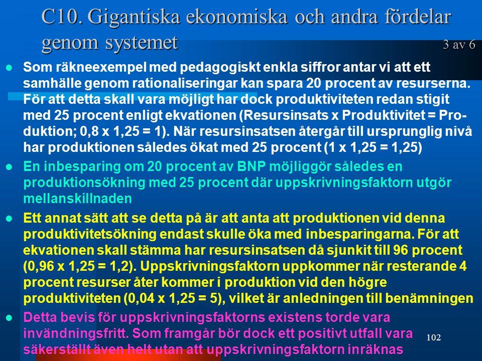 C10. Gigantiska ekonomiska och andra fördelar genom systemet 3 av 6 Som räkneexempel med pedagogiskt enkla siffror antar vi att ett samhälle genom rat