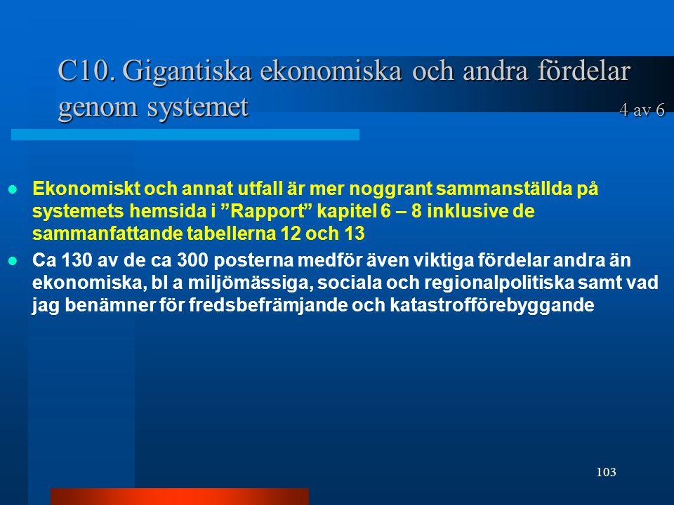 """C10. Gigantiska ekonomiska och andra fördelar genom systemet 4 av 6 Ekonomiskt och annat utfall är mer noggrant sammanställda på systemets hemsida i """""""