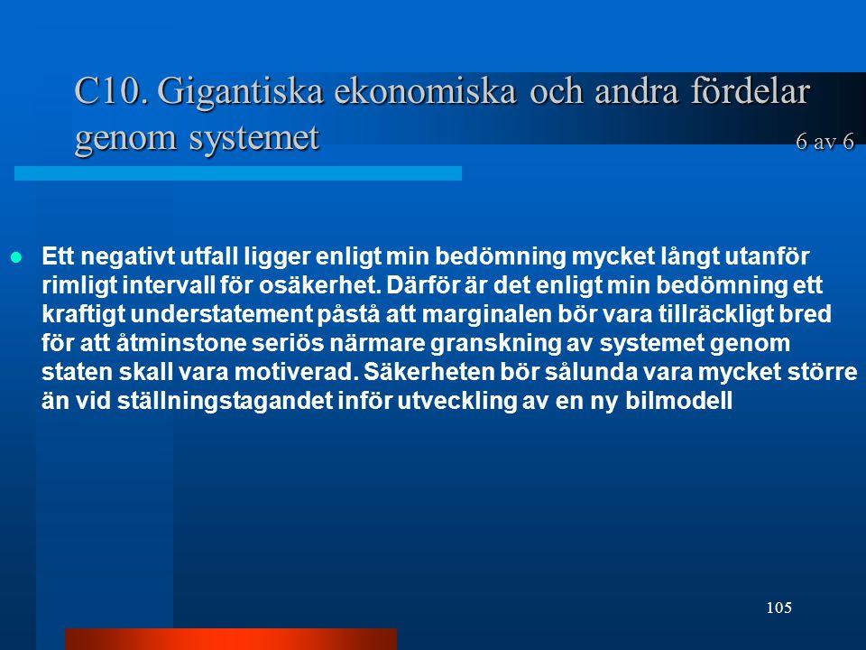 C10. Gigantiska ekonomiska och andra fördelar genom systemet 6 av 6 Ett negativt utfall ligger enligt min bedömning mycket långt utanför rimligt inter