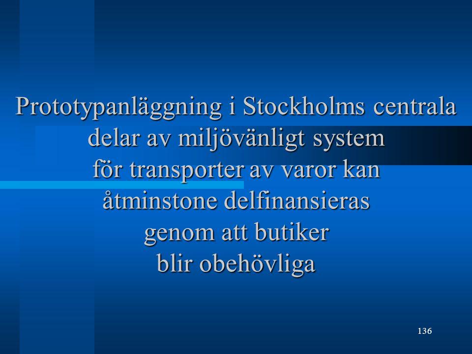 136 Prototypanläggning i Stockholms centrala delar av miljövänligt system för transporter av varor kan åtminstone delfinansieras genom att butiker blir obehövliga
