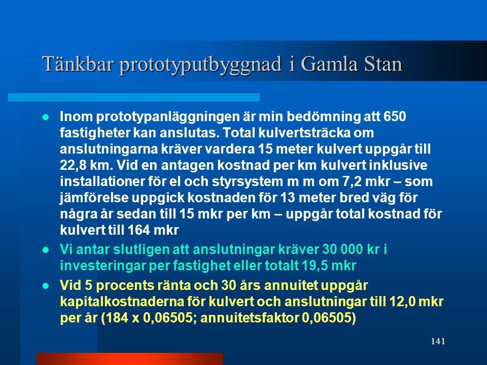 Tänkbar prototyputbyggnad i Gamla Stan Inom prototypanläggningen är min bedömning att 650 fastigheter kan anslutas.