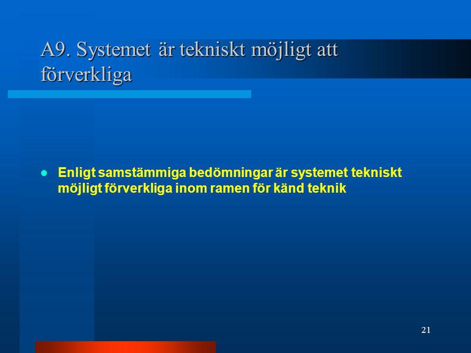 A9. Systemet är tekniskt möjligt att förverkliga Enligt samstämmiga bedömningar är systemet tekniskt möjligt förverkliga inom ramen för känd teknik 21