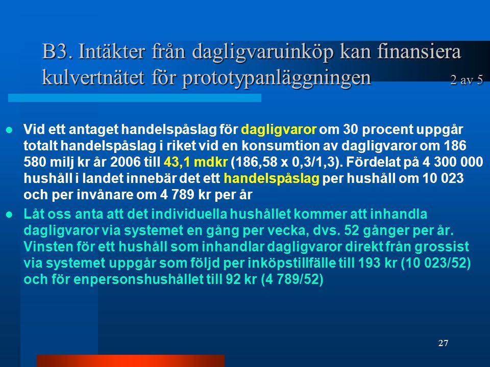 B3. Intäkter från dagligvaruinköp kan finansiera kulvertnätet för prototypanläggningen 2 av 5 Vid ett antaget handelspåslag för dagligvaror om 30 proc