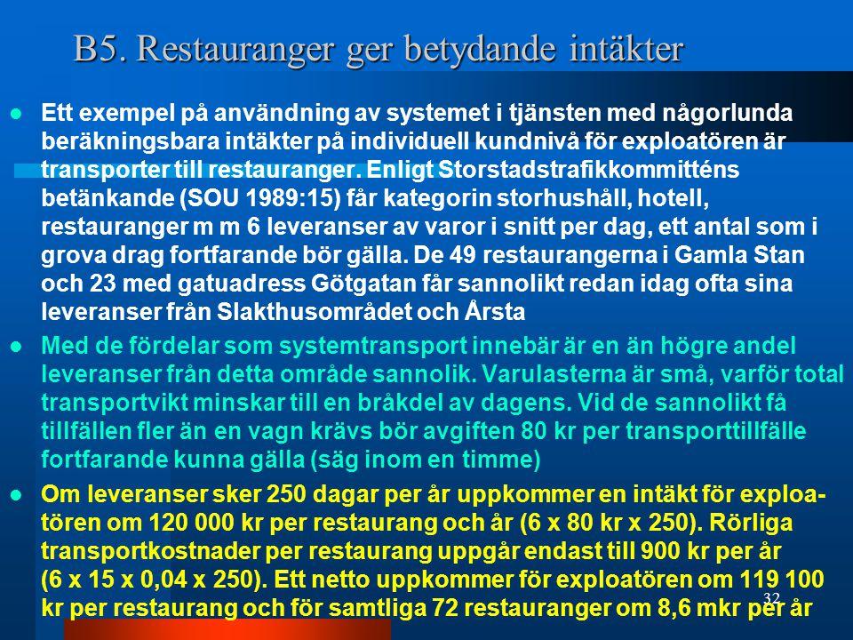 B5. Restauranger ger betydande intäkter Ett exempel på användning av systemet i tjänsten med någorlunda beräkningsbara intäkter på individuell kundniv