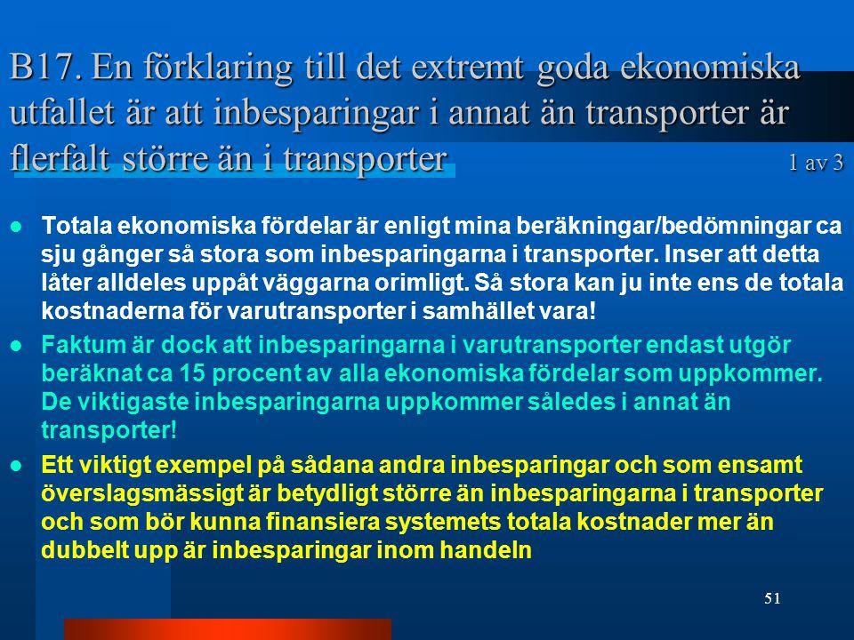 B17. En förklaring till det extremt goda ekonomiska utfallet är att inbesparingar i annat än transporter är flerfalt större än i transporter 1 av 3 To