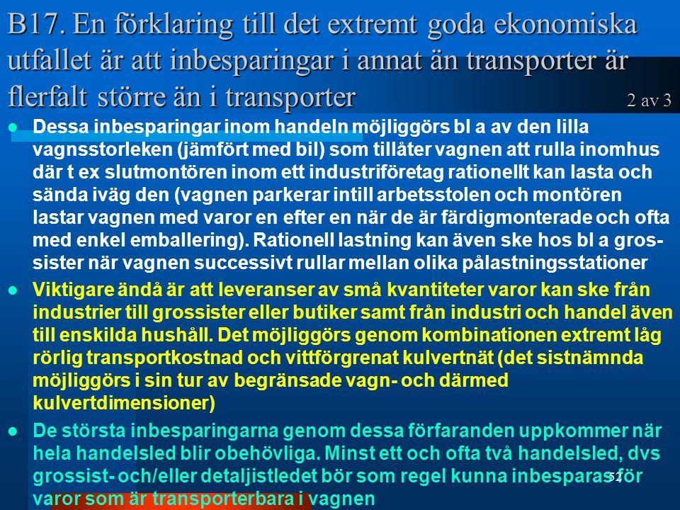 B17. En förklaring till det extremt goda ekonomiska utfallet är att inbesparingar i annat än transporter är flerfalt större än i transporter 2 av 3 De