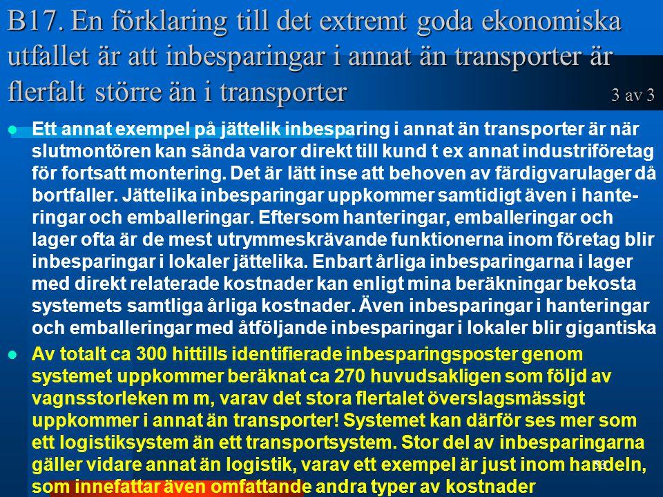 B17. En förklaring till det extremt goda ekonomiska utfallet är att inbesparingar i annat än transporter är flerfalt större än i transporter 3 av 3 Et