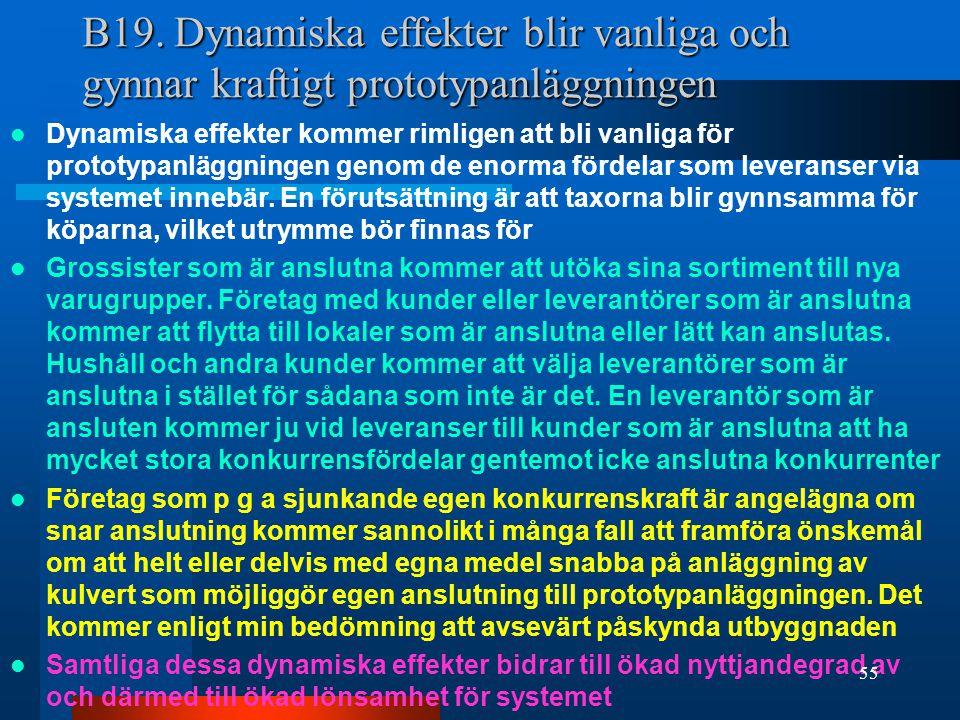 B19. Dynamiska effekter blir vanliga och gynnar kraftigt prototypanläggningen Dynamiska effekter kommer rimligen att bli vanliga för prototypanläggnin
