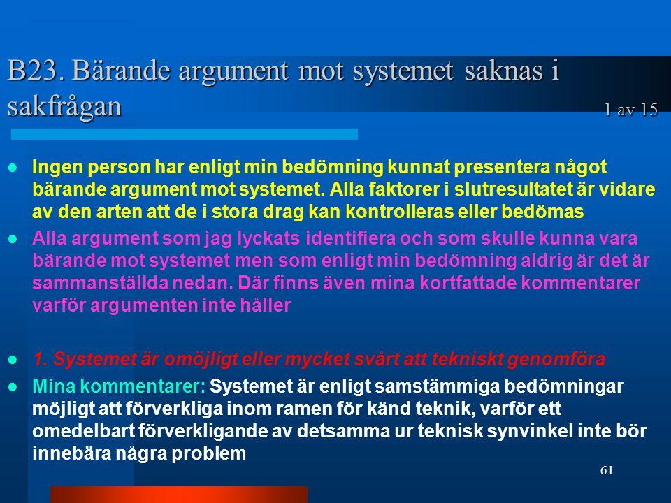 B23. Bärande argument mot systemet saknas i sakfrågan 1 av 15 Ingen person har enligt min bedömning kunnat presentera något bärande argument mot syste