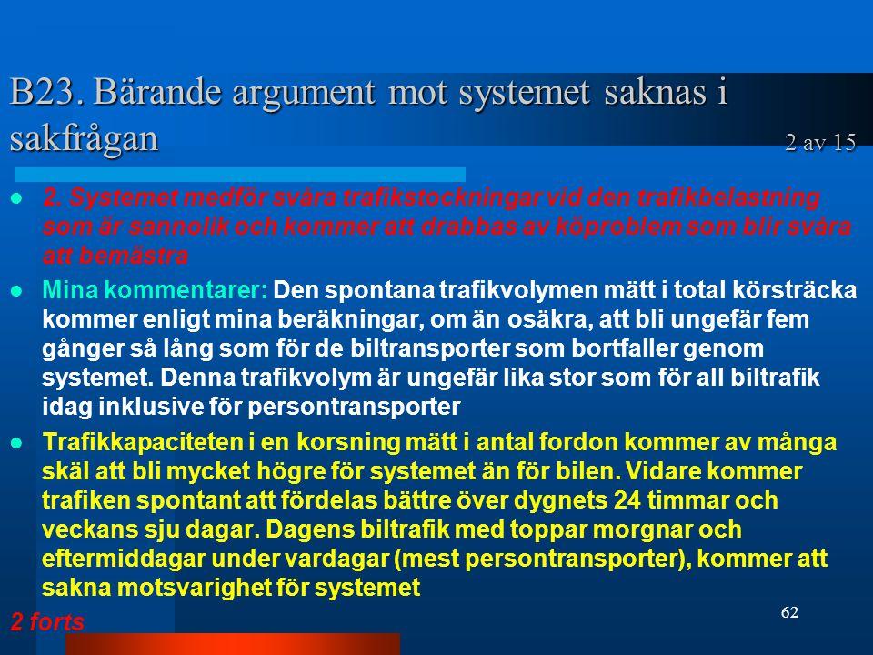 B23.Bärande argument mot systemet saknas i sakfrågan 2 av 15 2.
