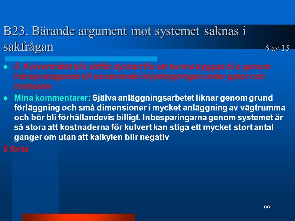 B23.Bärande argument mot systemet saknas i sakfrågan 6 av 15 5.