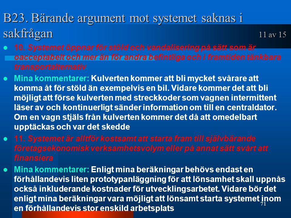 B23.Bärande argument mot systemet saknas i sakfrågan 11 av 15 10.