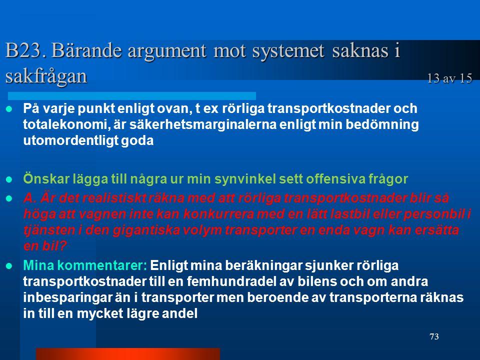 B23. Bärande argument mot systemet saknas i sakfrågan 13 av 15 På varje punkt enligt ovan, t ex rörliga transportkostnader och totalekonomi, är säkerh