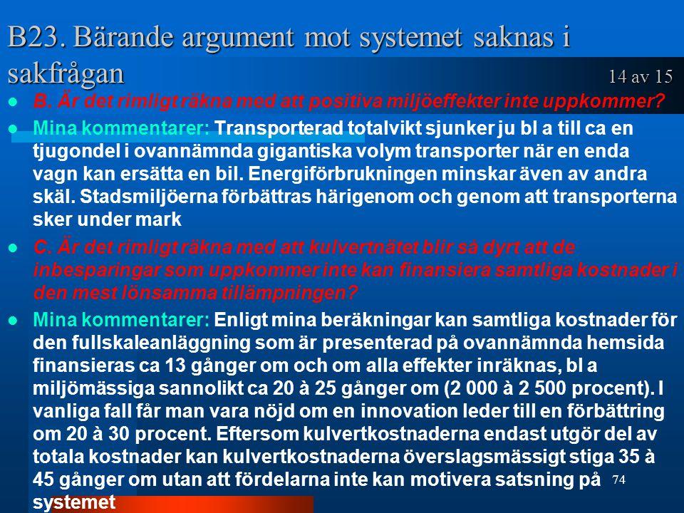 B23.Bärande argument mot systemet saknas i sakfrågan 14 av 15 B.