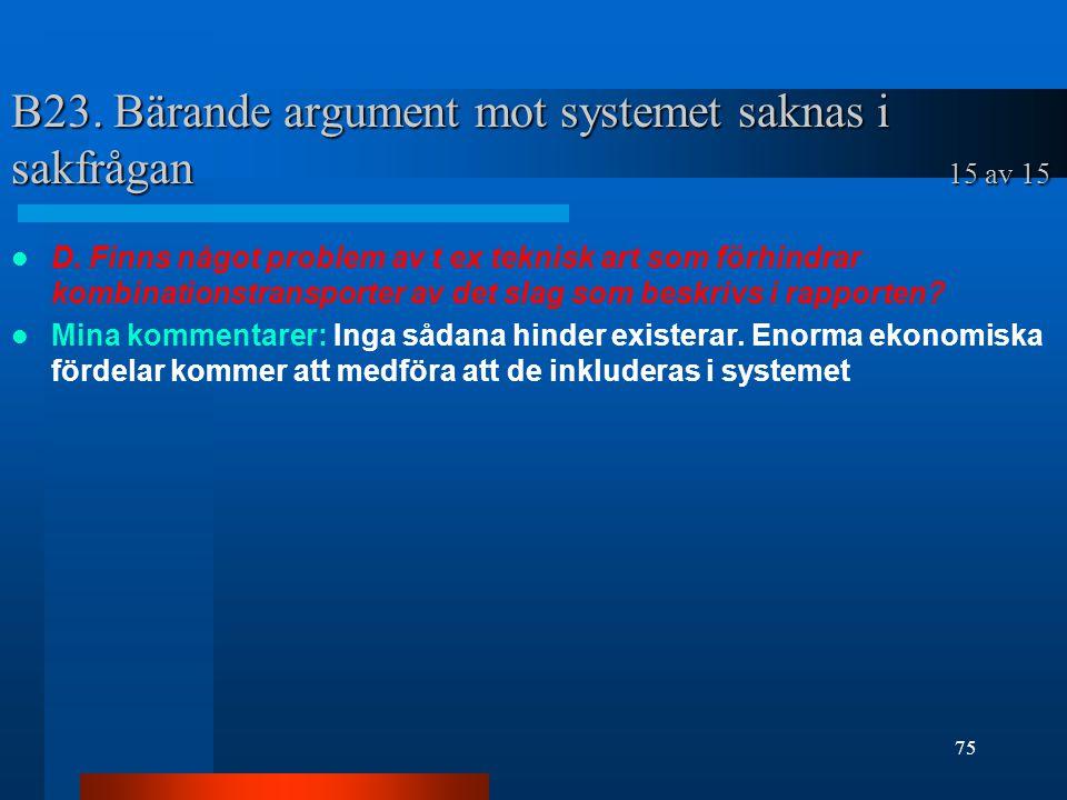 B23.Bärande argument mot systemet saknas i sakfrågan 15 av 15 D.