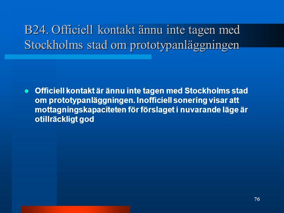 B24. Officiell kontakt ännu inte tagen med Stockholms stad om prototypanläggningen Officiell kontakt är ännu inte tagen med Stockholms stad om prototy