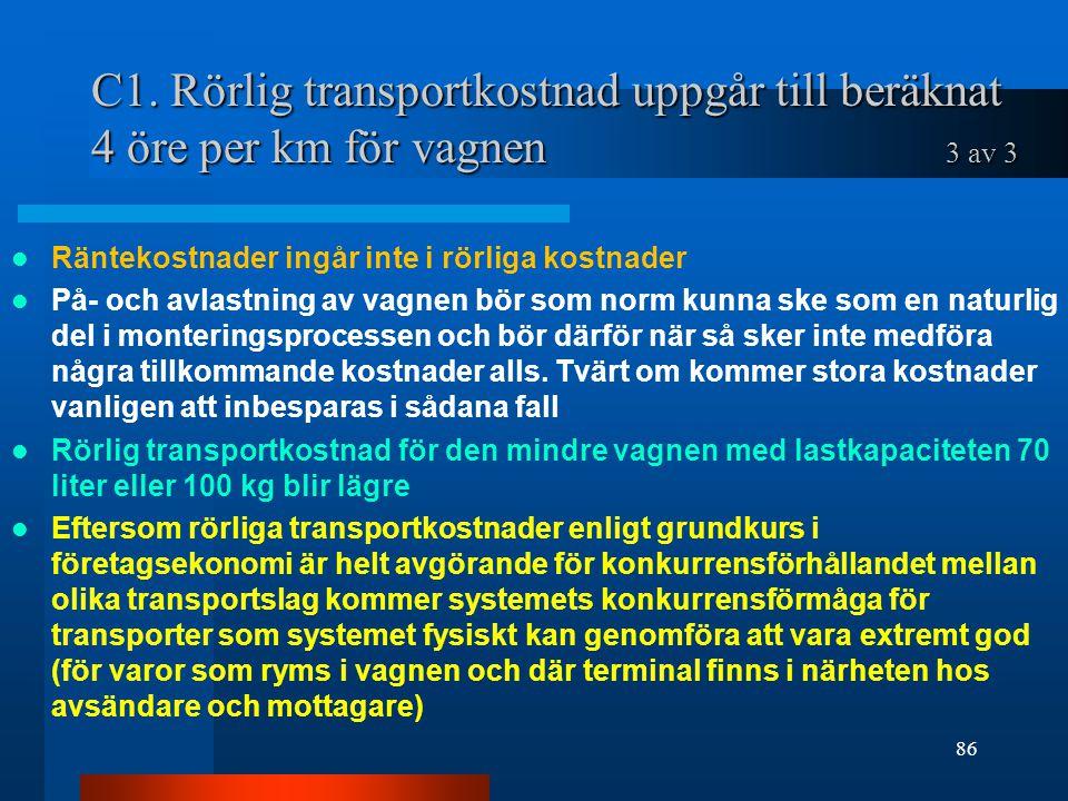 C1. Rörlig transportkostnad uppgår till beräknat 4 öre per km för vagnen 3 av 3 Räntekostnader ingår inte i rörliga kostnader På- och avlastning av va