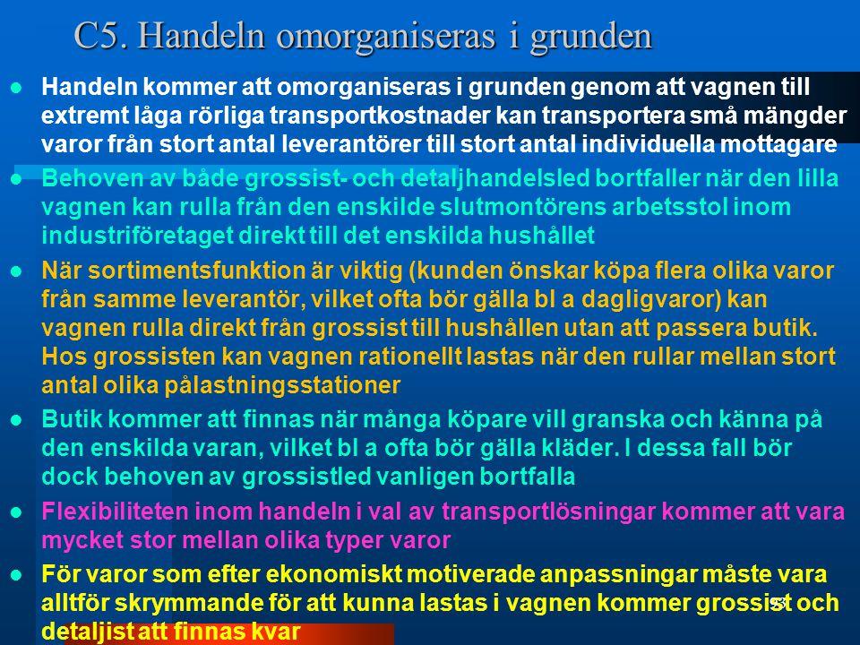 C5. Handeln omorganiseras i grunden Handeln kommer att omorganiseras i grunden genom att vagnen till extremt låga rörliga transportkostnader kan trans