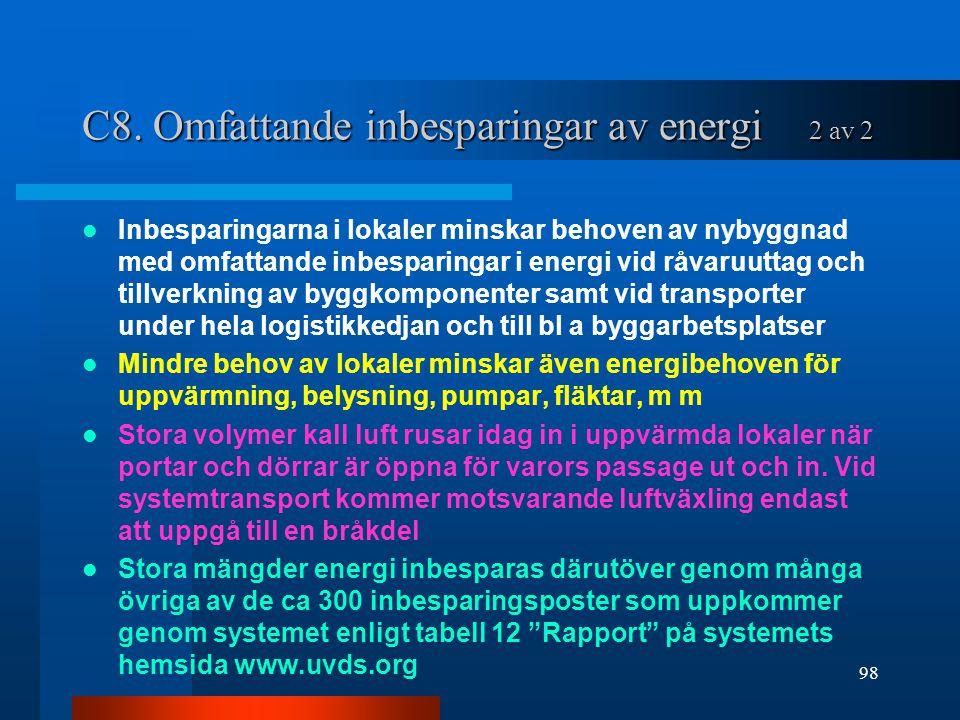 C8. Omfattande inbesparingar av energi 2 av 2 Inbesparingarna i lokaler minskar behoven av nybyggnad med omfattande inbesparingar i energi vid råvaruu