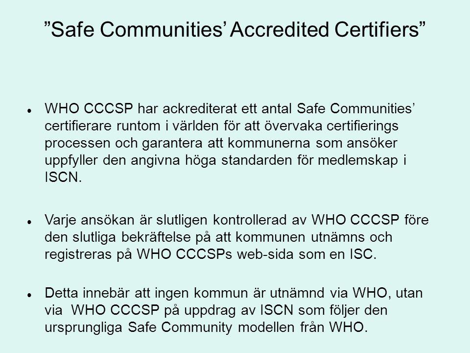"""""""Safe Communities' Accredited Certifiers"""" WHO CCCSP har ackrediterat ett antal Safe Communities' certifierare runtom i världen för att övervaka certif"""