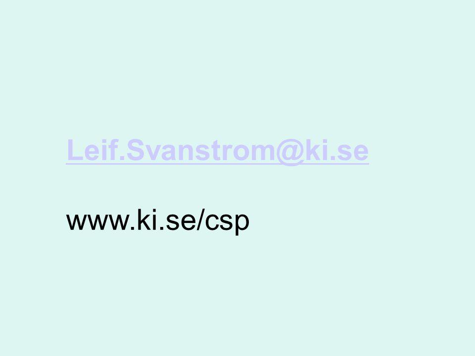Leif.Svanstrom@ki.se Leif.Svanstrom@ki.se www.ki.se/csp