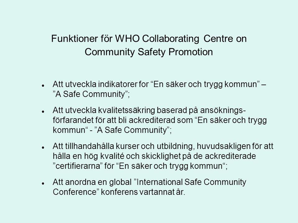 """Funktioner för WHO Collaborating Centre on Community Safety Promotion Att utveckla indikatorer for """"En säker och trygg kommun"""" – """"A Safe Community""""; A"""