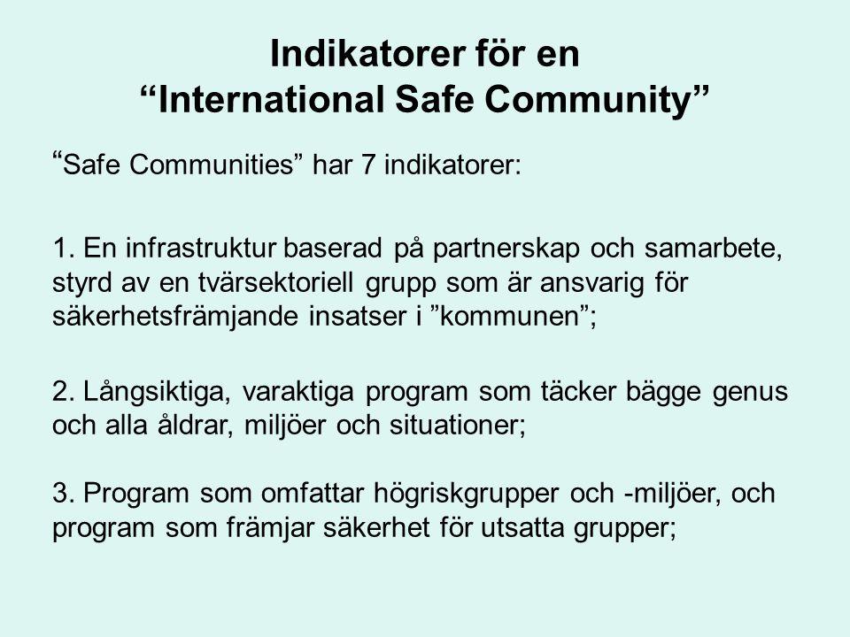 """Indikatorer för en """"International Safe Community"""" """" Safe Communities"""" har 7 indikatorer: 1. En infrastruktur baserad på partnerskap och samarbete, sty"""