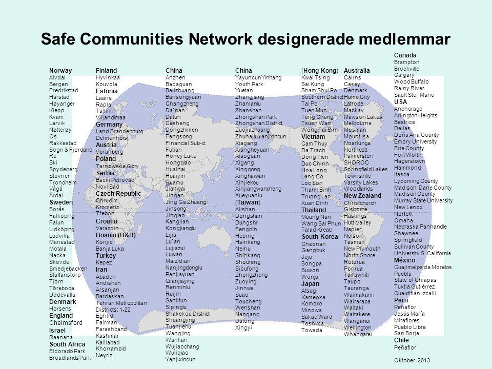 Safe Communities Network designerade medlemmar Norway Alvdal Bergen Fredrikstad Harstad Høyanger Klepp Kvam Larvik Nøtterøy Os Rakkestad Sogn & Fjorda