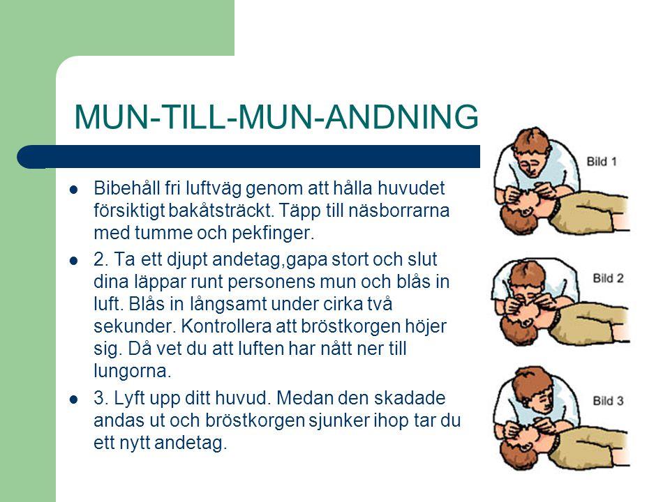 MUN-TILL-MUN-ANDNING Bibehåll fri luftväg genom att hålla huvudet försiktigt bakåtsträckt. Täpp till näsborrarna med tumme och pekfinger. 2. Ta ett dj