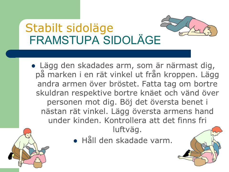 Stabilt sidoläge FRAMSTUPA SIDOLÄGE Lägg den skadades arm, som är närmast dig, på marken i en rät vinkel ut från kroppen. Lägg andra armen över bröste