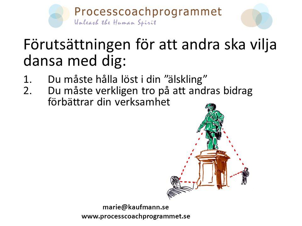 marie@kaufmann.se www.processcoachprogrammet.se 1.Du måste hålla löst i din älskling 2.Du måste verkligen tro på att andras bidrag förbättrar din verksamhet Förutsättningen för att andra ska vilja dansa med dig: