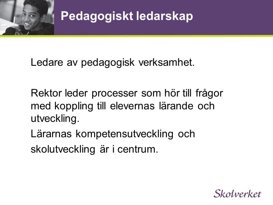 Pedagogiskt ledarskap Ledare av pedagogisk verksamhet. Rektor leder processer som hör till frågor med koppling till elevernas lärande och utveckling.