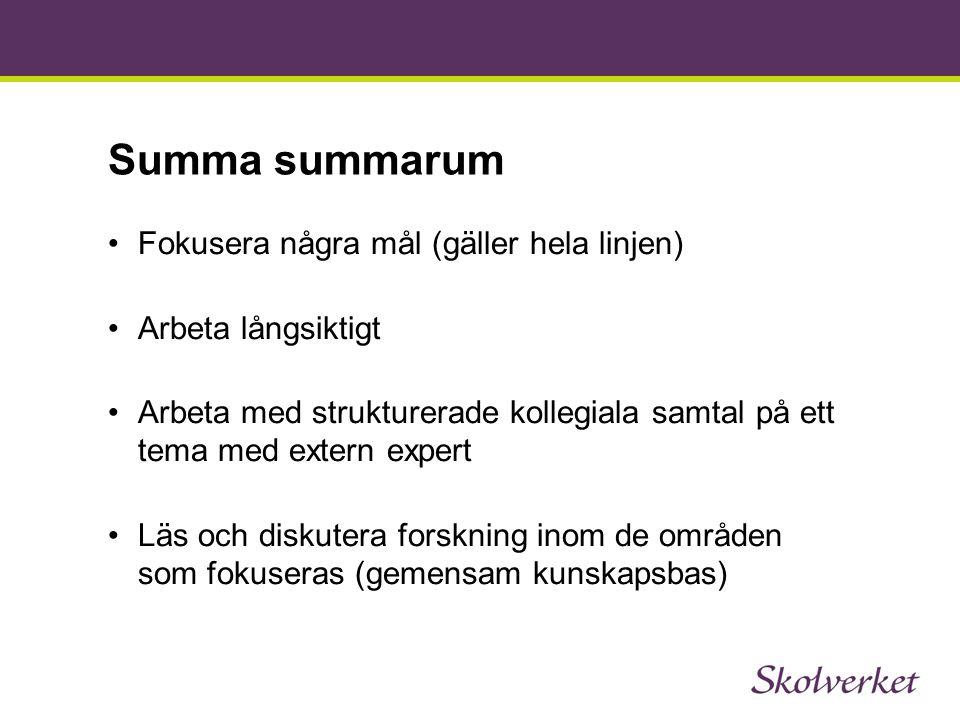 Summa summarum Fokusera några mål (gäller hela linjen) Arbeta långsiktigt Arbeta med strukturerade kollegiala samtal på ett tema med extern expert Läs