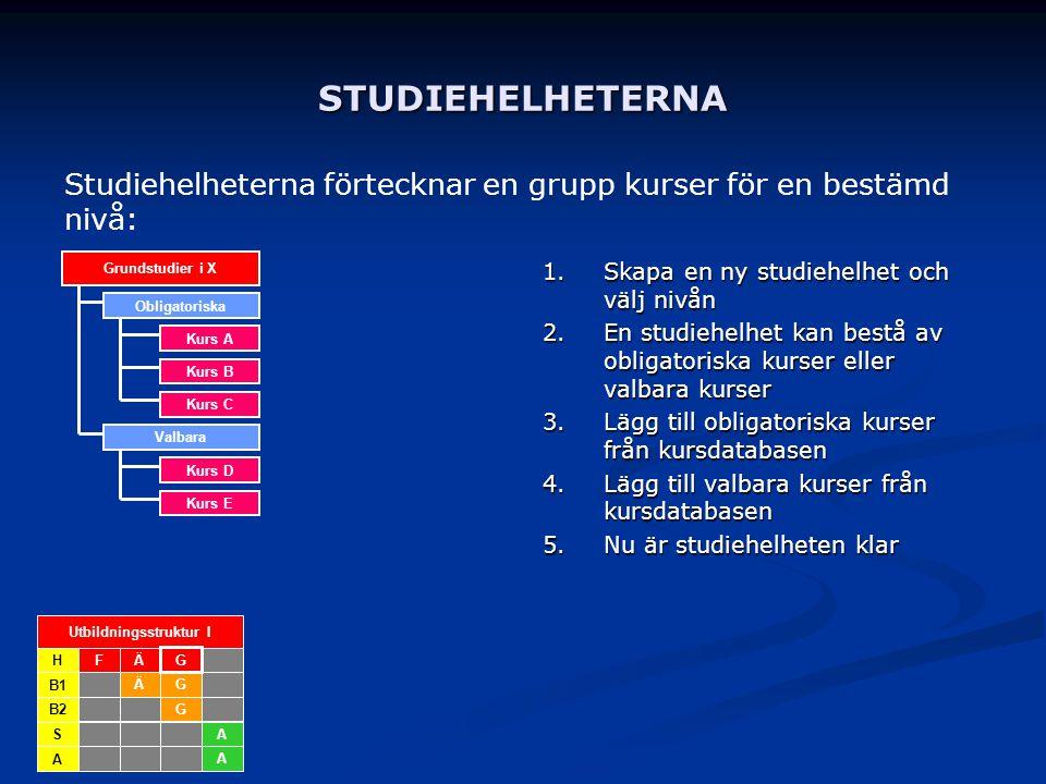STUDIEHELHETERNA 1. Skapa en ny studiehelhet och välj nivån 2. En studiehelhet kan bestå av obligatoriska kurser eller valbara kurser 3. Lägg till obl