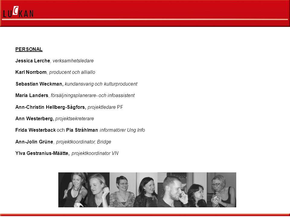 PERSONAL Jessica Lerche, verksamhetsledare Karl Norrbom, producent och alliallo Sebastian Weckman, kundansvarig och kulturproducent Maria Landers, försäljningsplanerare- och infoassistent Ann-Christin Hellberg-Sågfors, projektledare PF Ann Westerberg, projektsekreterare Frida Westerback och Pia Stråhlman informatörer Ung Info Ann-Jolin Grüne, projektkoordinator, Bridge Ylva Gestranius-Määtte, projektkoordinator VN