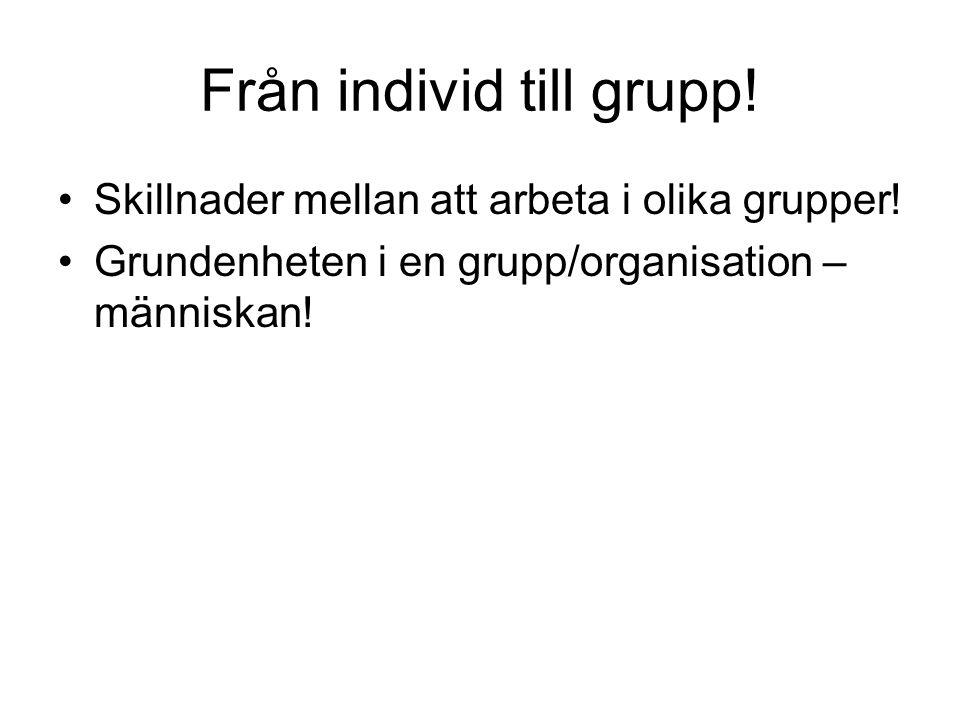 Från individ till grupp! Skillnader mellan att arbeta i olika grupper! Grundenheten i en grupp/organisation – människan!
