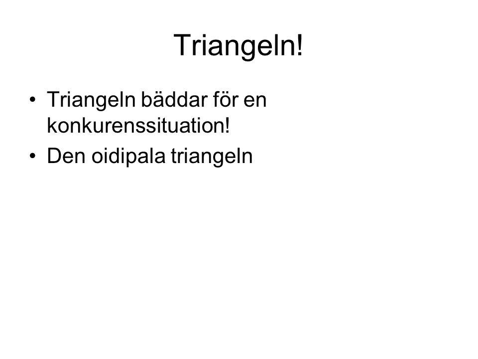 Triangeln! Triangeln bäddar för en konkurenssituation! Den oidipala triangeln