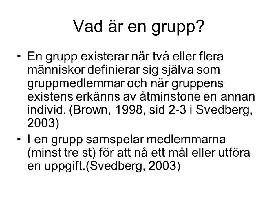 Vad är en grupp? En grupp existerar när två eller flera människor definierar sig själva som gruppmedlemmar och när gruppens existens erkänns av åtmins