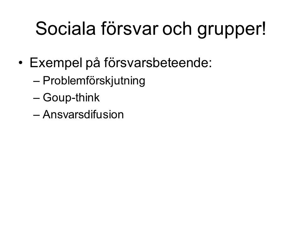Sociala försvar och grupper! Exempel på försvarsbeteende: –Problemförskjutning –Goup-think –Ansvarsdifusion