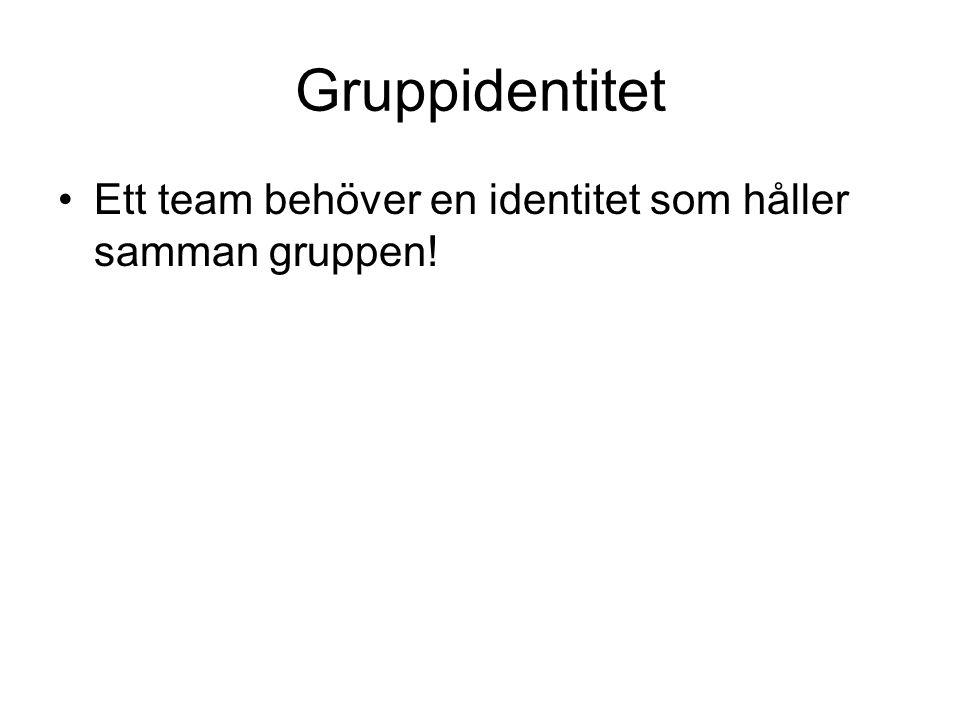 Gruppidentitet Ett team behöver en identitet som håller samman gruppen!