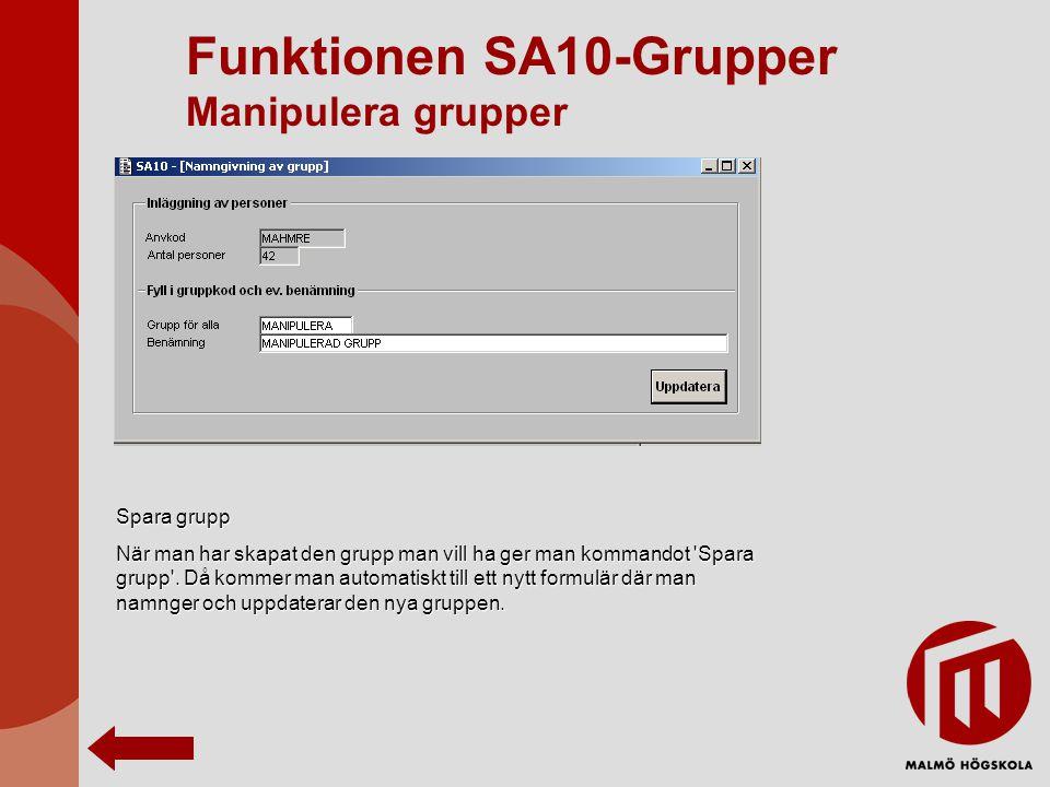 Funktionen SA10-Grupper Manipulera grupper Spara grupp När man har skapat den grupp man vill ha ger man kommandot 'Spara grupp'. Då kommer man automat