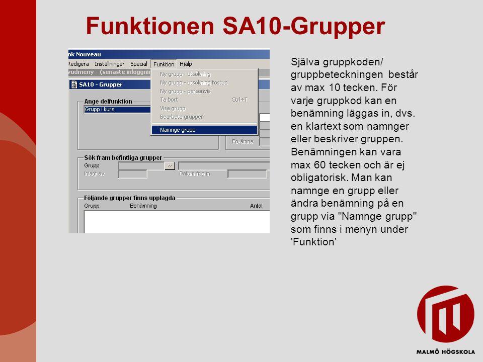 Funktionen SA10-Grupper Själva gruppkoden/ gruppbeteckningen består av max 10 tecken. För varje gruppkod kan en benämning läggas in, dvs. en klartext