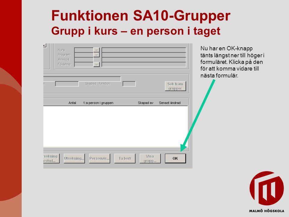Funktionen SA10-Grupper Grupp i kurs – en person i taget Nu har en OK-knapp tänts längst ner till höger i formuläret. Klicka på den för att komma vida
