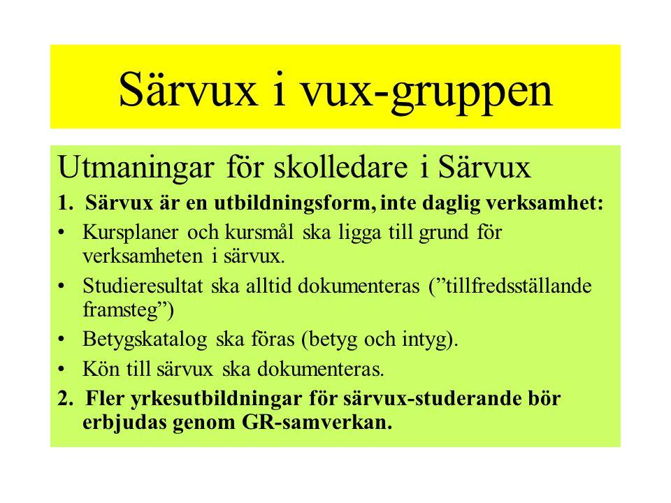 Särvux i vux-gruppen Utmaningar för skolledare i Särvux 1.
