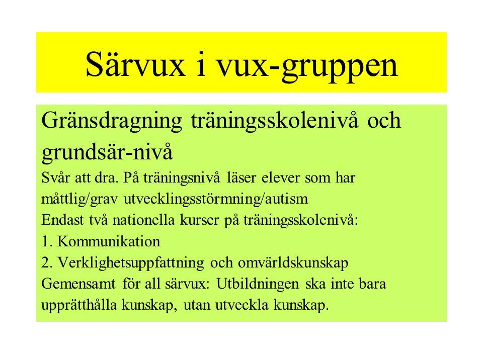 Särvux i vux-gruppen Gränsdragning träningsskolenivå och grundsär-nivå Svår att dra.