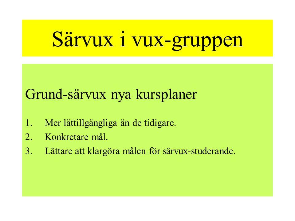 Särvux i vux-gruppen Grund-särvux nya kursplaner 1.Mer lättillgängliga än de tidigare.
