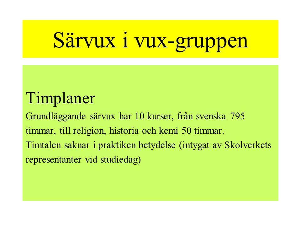 Särvux i vux-gruppen Timplaner Grundläggande särvux har 10 kurser, från svenska 795 timmar, till religion, historia och kemi 50 timmar. Timtalen sakna