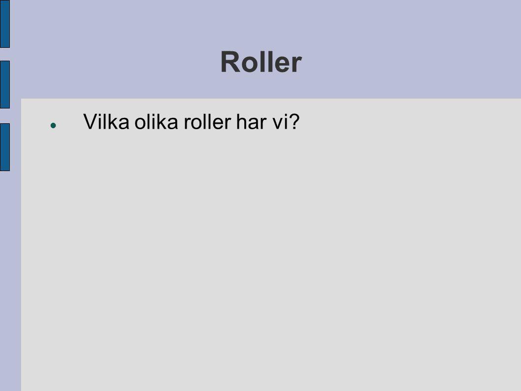Roller Vilka olika roller har vi?