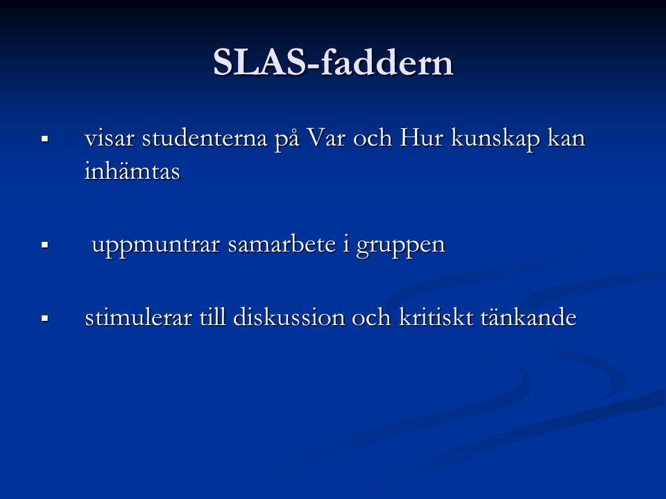 SLAS-faddern  visar studenterna på Var och Hur kunskap kan inhämtas  uppmuntrar samarbete i gruppen  stimulerar till diskussion och kritiskt tänkan